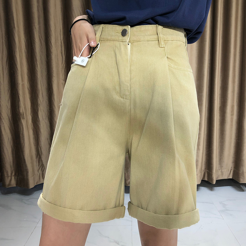 BIAORUINA Women Washing Cotton High Waist A-line   Short   Female Fashion Wide Leg   Short   Summer Girls Casual Comfortable   Shorts