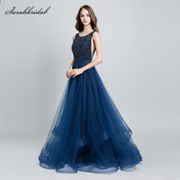 Customized Wholesale 2019 New Arrivals Elegant Long Evening Dresses A Line Tulle Crystal Gowns Real Photos Robe De Soiree WT5171