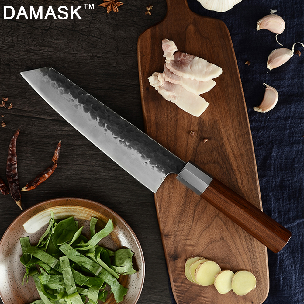 DAMASK Japanese Forged Kitchen Knife Kirisuke Handmade Slicing Chef Knives High Carbon Sharp Blade Wood Handle Cooking Tools image