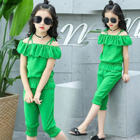 Girls Clothing Sets Children Tops+ Pants 2 Pcs Kids Suits 2017 Fashion Summer Sport Kids Outfits Sets for 4 6 8 10 12 Year