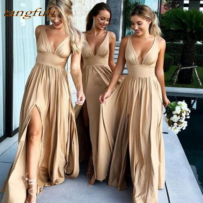 Long   Bridesmaid     Dresses   Party A Line V Neck Pleat For Women Wedding Part yDress Chiffon Pleats Wedding Party   Dress   Gowns Wear