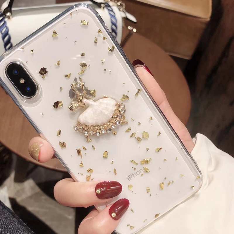 Tfshining Gold Foil Glitter Bling Case for iPhone X XS MAX 8 7 6 6S Plus Ballet Girl Silicone Clear Case TPU Back Shell Cover (9)