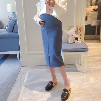 551 # miękkie wełniane spódnice ciążowe 2019 moda jesień spódnice ołówkowe odzież dla ciężarnych kobiet Sexy Hot ciąża brzuch spódnice tanie i dobre opinie SEYETAQA COTTON Poliester CN (pochodzenie) Na co dzień Natural color Kolan Ołówek WOMEN Stałe Macierzyństwo