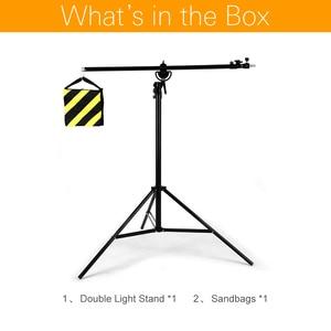 """Image 2 - 126 """"320 cm support de lumière réglable en aluminium rotatif bidirectionnel de Boom de trépied avec le sac de sable pour la vidéo de photographie de Studio"""