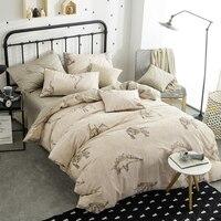 Papa Mima Cartoon Dinosaur Beige Queen Size 4pcs Bedding Sets 100 Soft Cotton Bedlinens Duvet Cover