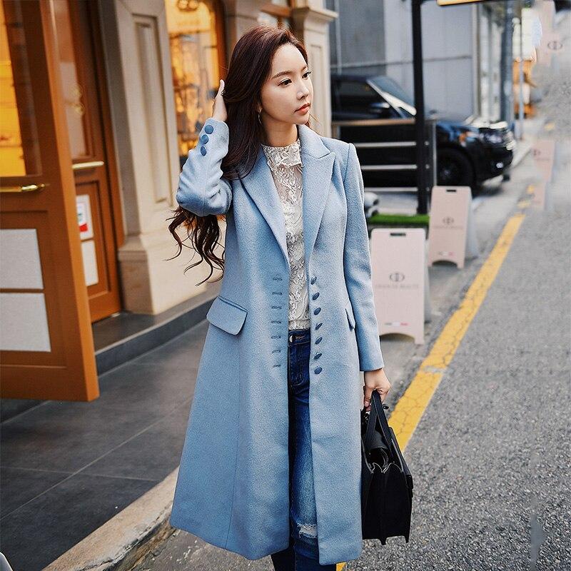 Dabuwawa Long manteau en laine D'hiver Femmes 2018 Nouveau Bureau Lady Mode Élégante sur mesure Col Unique Poitrine Manteau