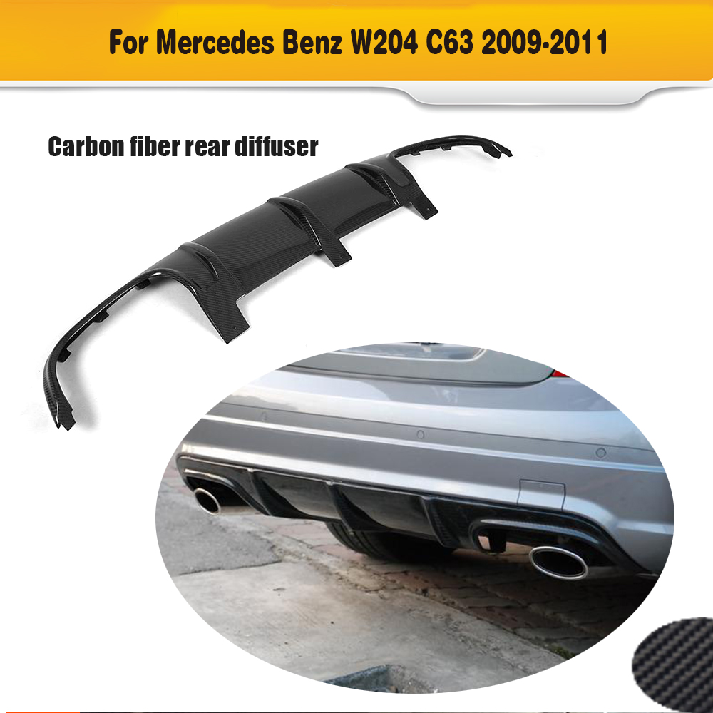 C Class Carbon Fiber Car Rear Bumper lip diffuser for Mercedes Benz W204 C63 AMG 2008 2009 2010 2011 O style leadtops car styling 14cm waterproof ultra thin cob chip led daytime running light diy drl fog light lamp source car styling be