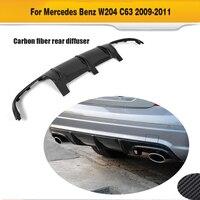 C Class Carbon Fiber Car Rear Bumper lip diffuser for Mercedes Benz W204 C63 AMG 2008 2009 2010 2011 O style