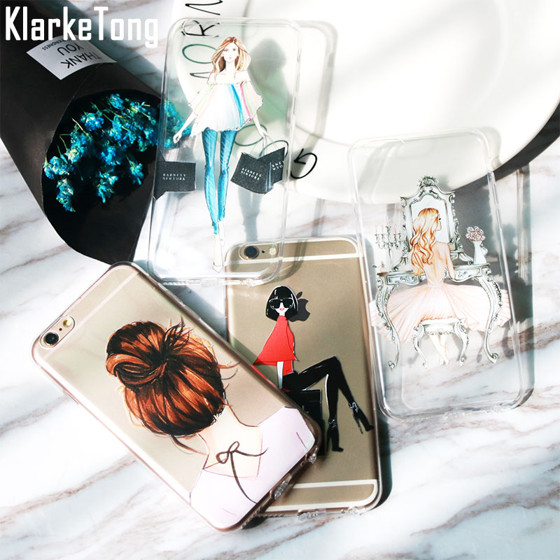 Luxury Fashion Cartoon Dress Shopping Beautiful Girl Case For Iphone 6 6s 7 5 5s SE 8 X Plus Transparent Clear TPU Phone Cover