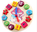Three-dimensional cartoon rabbit digital clock shape matching wooden building puzzles early childhood educational toys class
