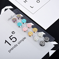 12pcs Classic vintage fix pin flower Elegant magnet brooch hijab accessories muslim scarf buckle