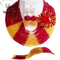 Laanc Brand Nigerian Wedding African Beads Jewelry Set Crystal Wine Gold Indian Bridal Bridesmaids Necklaces AL290