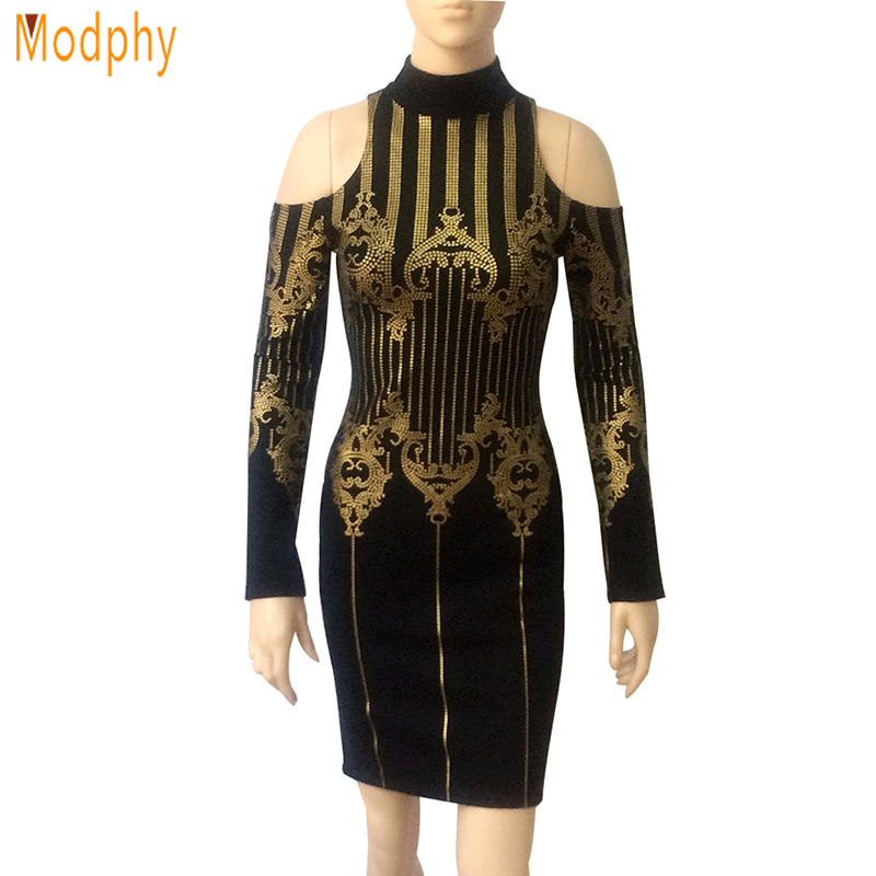 Modphy evening party mini Vestidos 2017 nuevas mujeres otoño negro oro  soporte Masajeadores de cuello mangas largas vendaje vestido dropshipping  hl732 b41a283e0e16