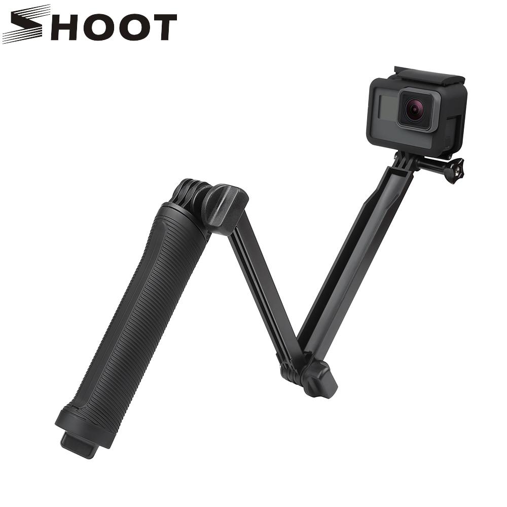 SHOOT Waterproof 3 Way Grip Monopod For GoPro Hero 6 5 3 4 Session SJCAM Eken h9 Yi 4K Camera Selfie Stick for Go Pro Accessory