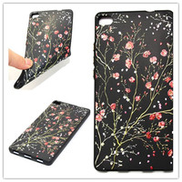 For Huawei P8 Relief Flower Black Silicone Soft Back Cover Floral Phone Case For Huawei P8
