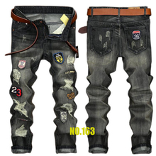 2017 new men jeans  high quality holes jeans men homme balmai denim trousers jeans Casual straight ripped jeans for men