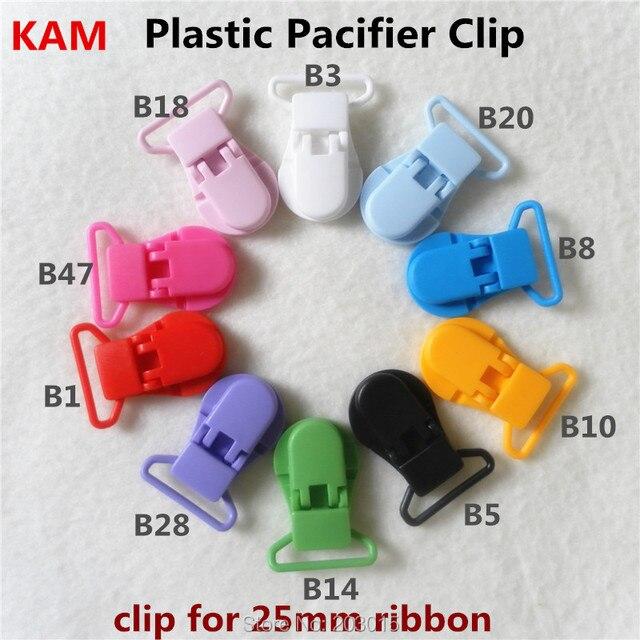 "(10 color ) 100pcs 1"" 25mm Hot D shape Kam Plastic Baby Pacifier Dummy Chain Holder Clips Suspender Clips"