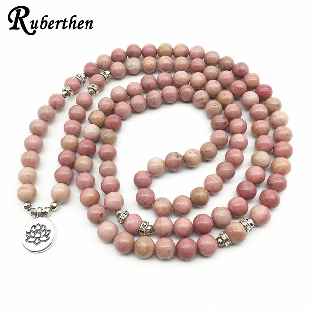 Ruberthen On Sale New Women`s Yoga Bracelet 108 Mala Rhodonite Balance Bracelet Simple Design Healing Spiritual Gift 1