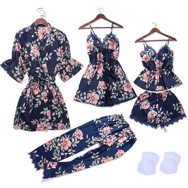 Robe + Nightgown + Camisole + Shorts + Pants 5 pieces/Set Women Faux Silk Flower Print Sleepwear with Padded Stain Pajamas Sets