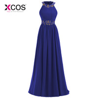 XCOS Dark Blue 2018 Prom Dresses Beaded Crystals Chiffon Women Long Prom Gown Evening Dresses Robe De Soiree