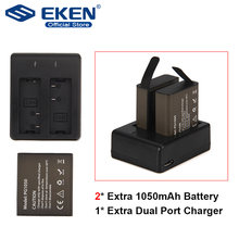 action camera battery set with 2pcs Battery + Dual Charger + USB cable For EKEN H9 H9R H3 H3R H8PRO H8R H8 pro V8S SJ4000 SJ5000(China)