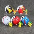 5 Colors Bounce PokeBall+Pikachu Figure Toys Deformation Balls Action Figures Magic Genius Poke ball Throw Automatically Bounce