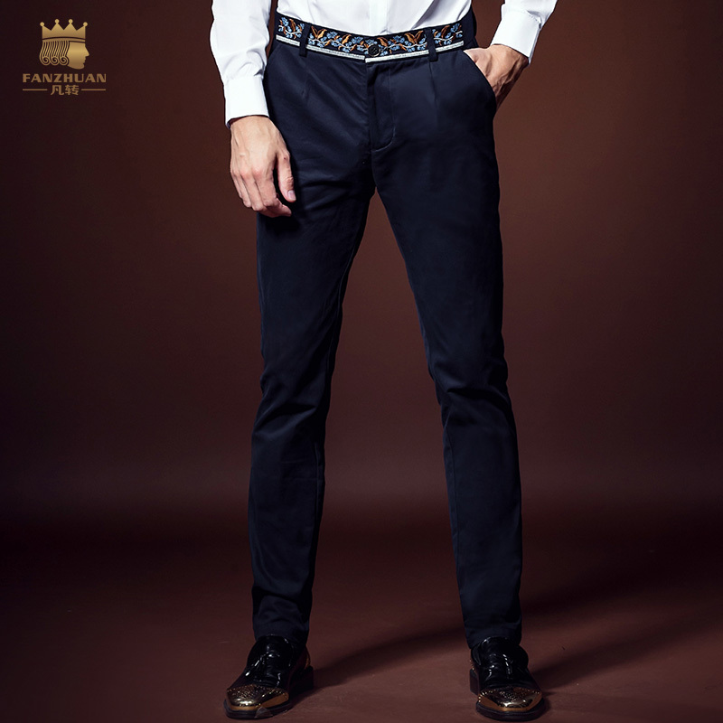 Free Ship New Male Fashion Men's European Business Trousers Slim Microejection Cotton Embroidered Blue Pants Personality 618055