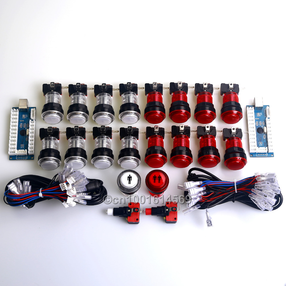 Reyann 2 Player Zero Delay MAME Game Cabinet DIY Kits Parts 18 x LED Illuminated Push Buttons & LED Encoder & Retropie 3B Game
