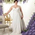 2017 Novo Mais o Tamanho de Charme Vestidos de Casamento Pescoço Namorada Do Assoalho-comprimento Chiffon Vestido De Noiva Costume Fazer
