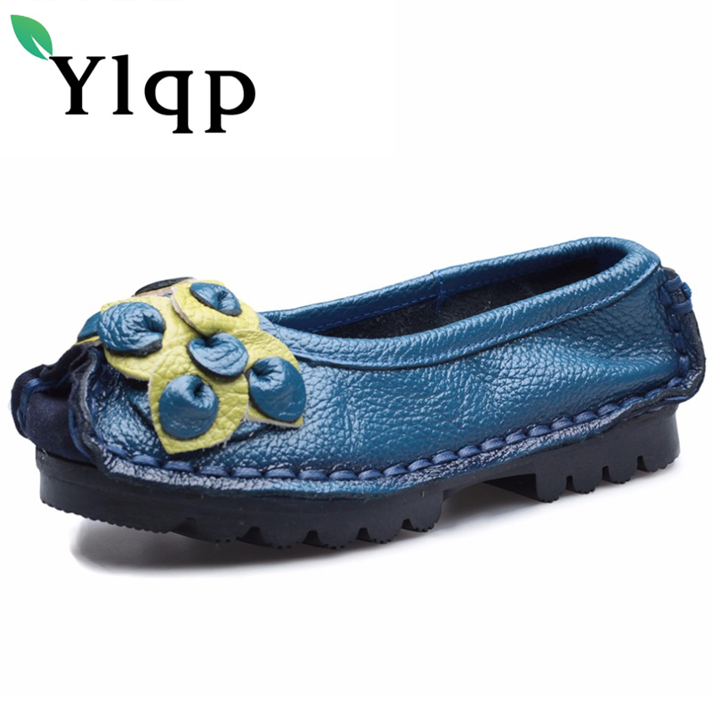 Ylqp Vintage Handmade Genuine Leather Shoes Mom Comfortable Soft Bottom Flat Shoes Lady Casual Real Leather Flats Zapatos Mujer wireless usb intelligent air pressure eye massager far infrared heating functions eye relax massager glasses myopia prevention