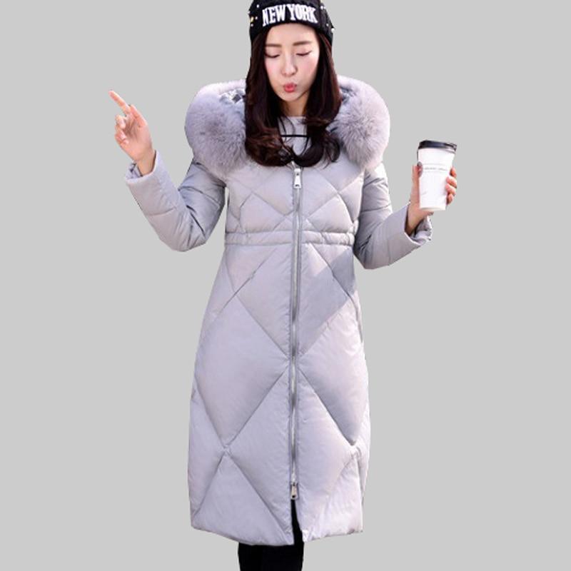 Korean New Slim Female Long Hooded Duck Down Jacket Women Winter Thick Warm Coat Oversized Fur Collar Parkas Jackets JA678