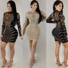 Fashion Rhinestone Diamonds Embellished Slim Bodycon Dress Women Turtleneck Long  Sleeve Perspective Party Nightclub Mini Dress e80be0b66299