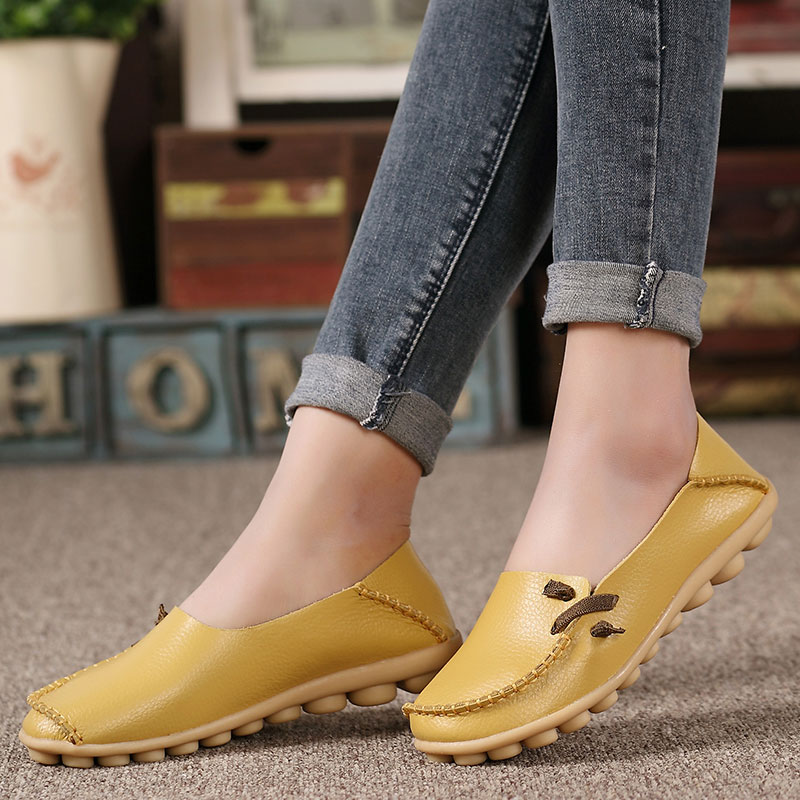 Women shoes 2019 New Arrival Sneakers women flats shoes Slips soft   leather   Solid Color ballet flats ladies shoes tenis feminino