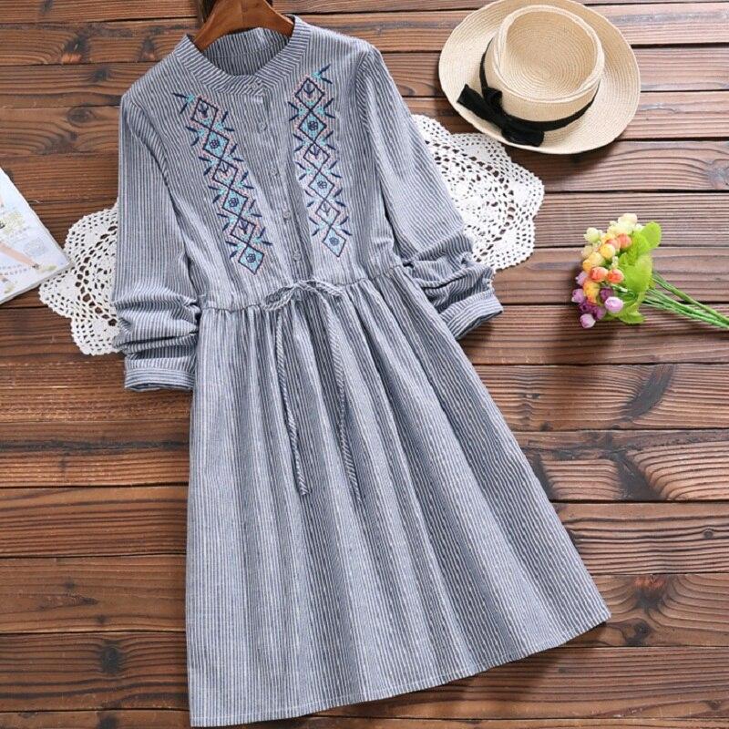 Mori Girl Spring Autumn Women Cute Dress Stand Collar Stripe Embroidery String Vestidos Full Sleeve Cotton Linen Blue Dress S-XL girl