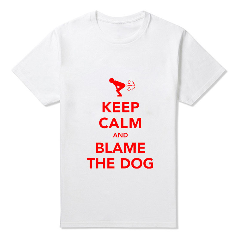 a7f14723cf New Keep Calm And Blame The Dog Fart Funny Men's T Shirts Men Short Sleeve  Male Cartoon T Shirt Wholesale-in T-Shirts from Men's Clothing on  Aliexpress.com ...
