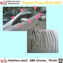 Auto körper stick edelstahl glas fenster garnieren säule mitte spalte streifen trim panel hauben 14 stücke für Toyota Prius 2016 2017