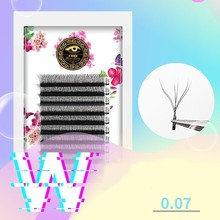20 Cases Mix W Mesh Woven Volume Mega Eyelashes Extension YY Type Grafting Soft Thick 0.07
