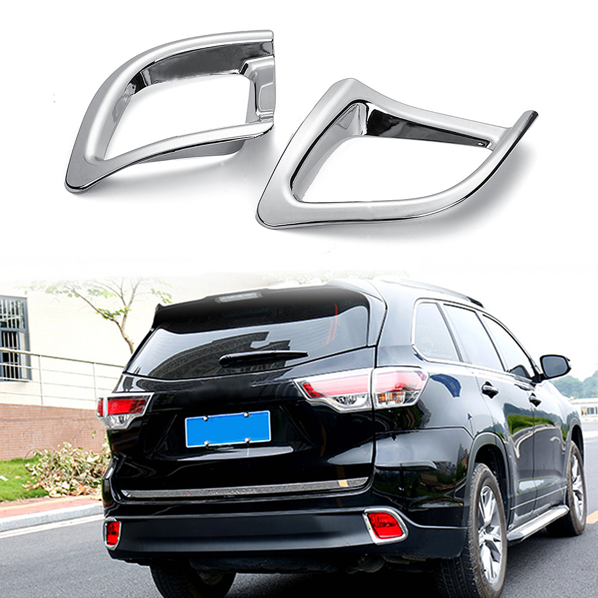 for 2015-2018 for Toyota Highlander 2 x Chrome Rear Bumper Fog Light Lamp Cover Trims Waterproof Glossy Mirror Surface no Fade