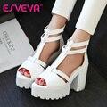 ESVEVA Rosa Concisa PU Mulheres Bombas Plataforma Salto Alto Peep Toe T cinta-Verão Sapatos Mulheres Sexy Sapatos de Casamento Branco Tamanho 34-39