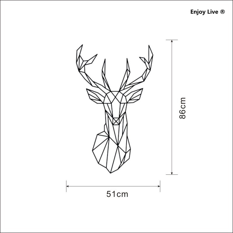 Geometric Deer Head Wall Stickers Home Decoration Bedroom