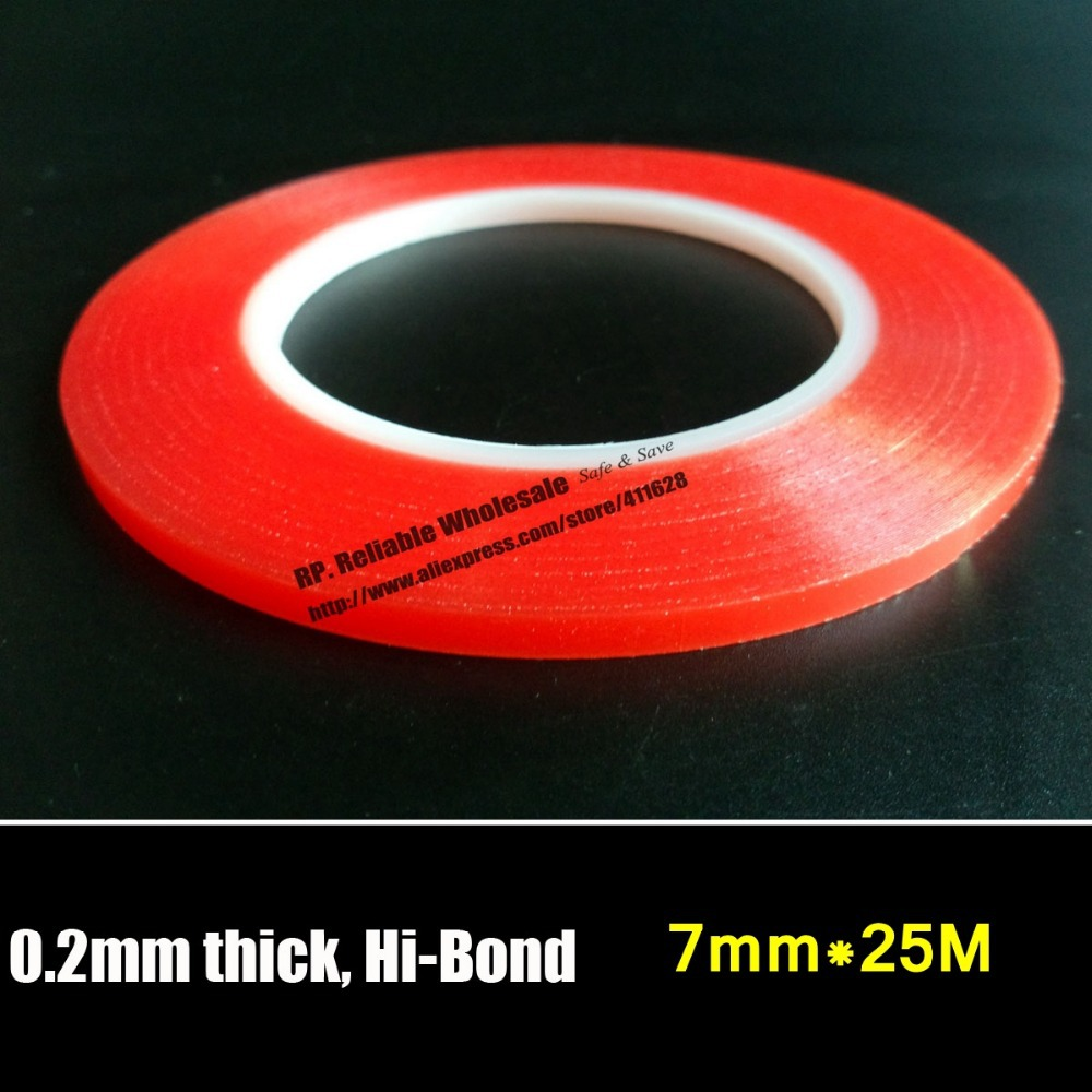 (0.2mm Thick) RP 7mm Strong Acrylic Gel Adhesive Double Adhesive PET Clear Sticky Tape No Trace High Temperature for Screen LED 50 meters roll 0 2mm thick 2mm 50mm choose super strong adhesive double sided sticky tape for cellphone tablet case screen