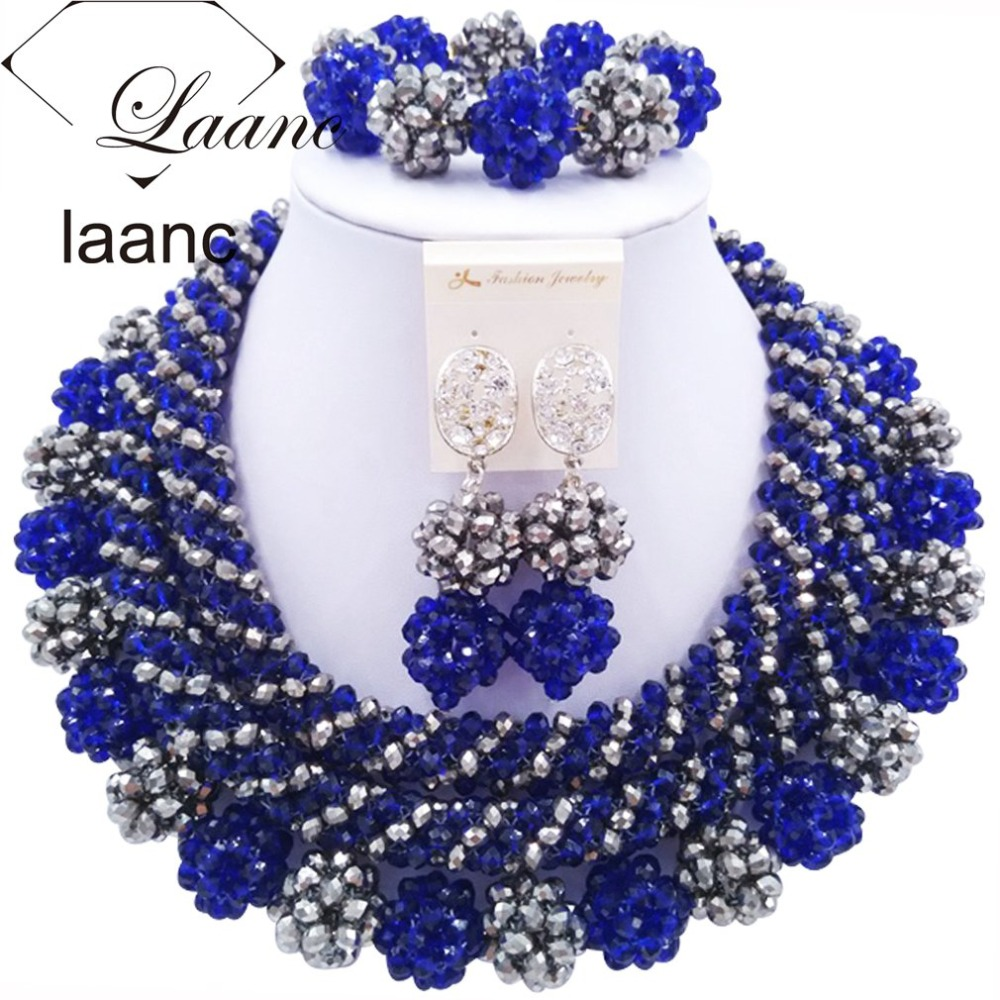 African Big Jewelry Set For Wedding Party Royal Blue and Silver Crystal laanc AL075 стоимость