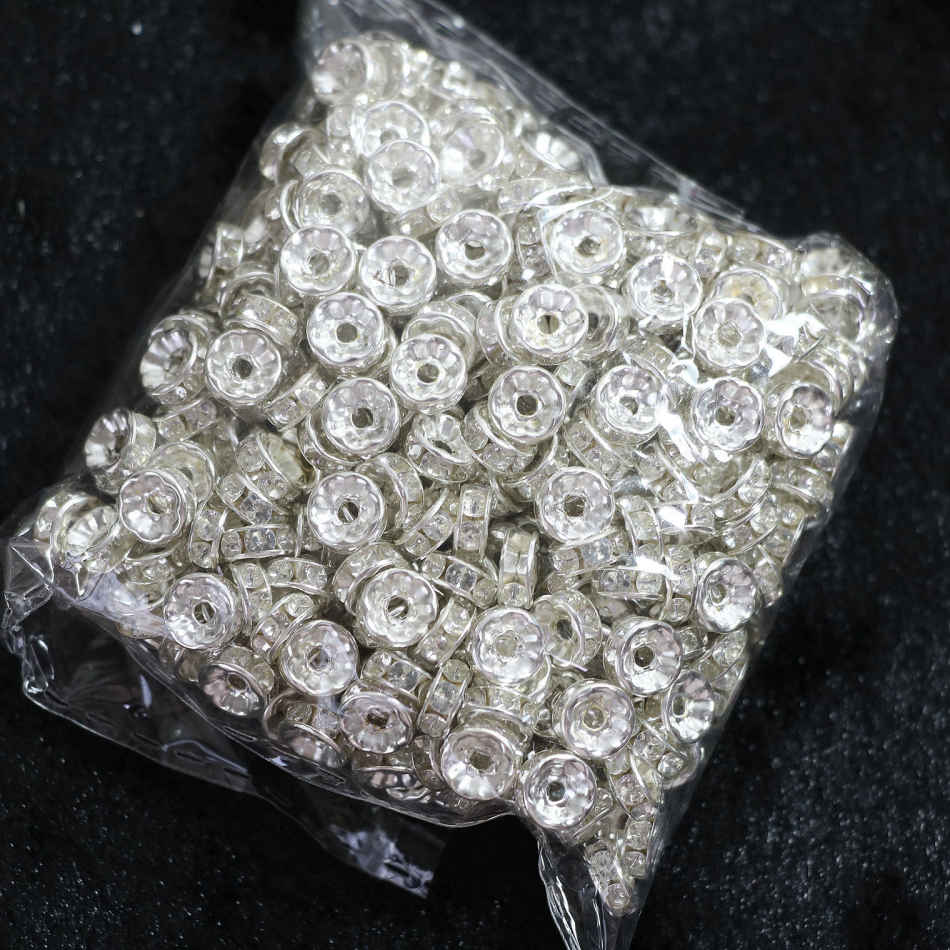 Silver color Crystal Rhinestone 6mm 8mm 10mm Rondelle Spacer Beads 500pcs/pack Jewelry Makings B846