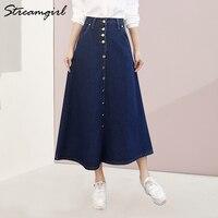 Женская джинсовая юбка Streamgirl, большие размеры, корейская мода, длинная джинсовая юбка с пуговицами и большим подолом, Повседневная Длинная ...