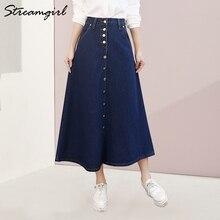 Streamgirl Denim Rock Frauen Plus Größe Korean Fashion Lange Jeans Rock Taste Big Hem Lässige Hohe Taille Röcke Lange Für frauen
