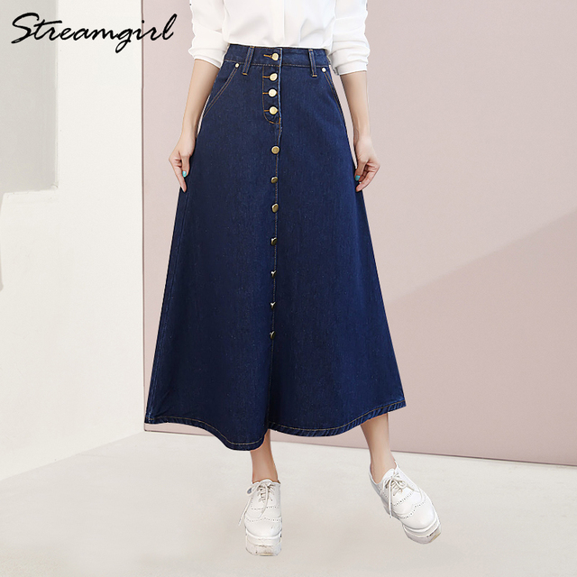 ac66a0ea8b Streamgirl Denim Skirt Women Plus Size Korean Fashion Long Jeans Skirt  Button Big Hem Casual High