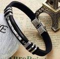 Men's Gift New Fashionable Jewelry Stainless Steel Silvery Black Special Shape Bohemia Stylish Bangle Bracelet Size:48mm