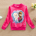 2016 niños del resorte de los bebés de la camiseta moda elsa ropa niñas suéter de la camiseta nuevas niñas de manga larga pullover tops