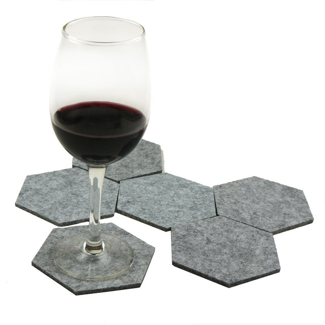 Felt Hexagon Shaped Drink Coasters Set, 6 Pcs