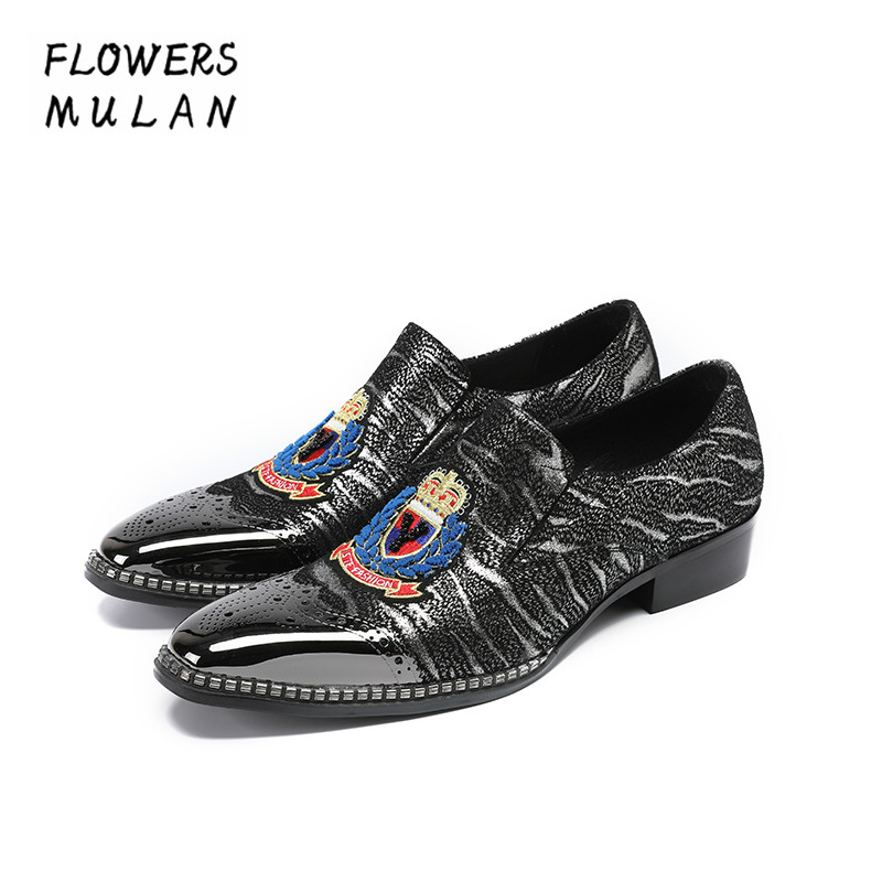 Fashion New Handmade Men Dress Shoes Metal Toe Slip On Male Lazy Shoes Mixed Color Embroidery Upper Height Increasing Footwear